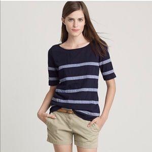 👔HP👔 J Crew Chambray Striped Tee Shirt Size XXS